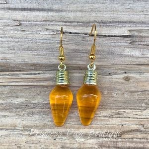Gold Orange Holiday Light Dangle Earrings